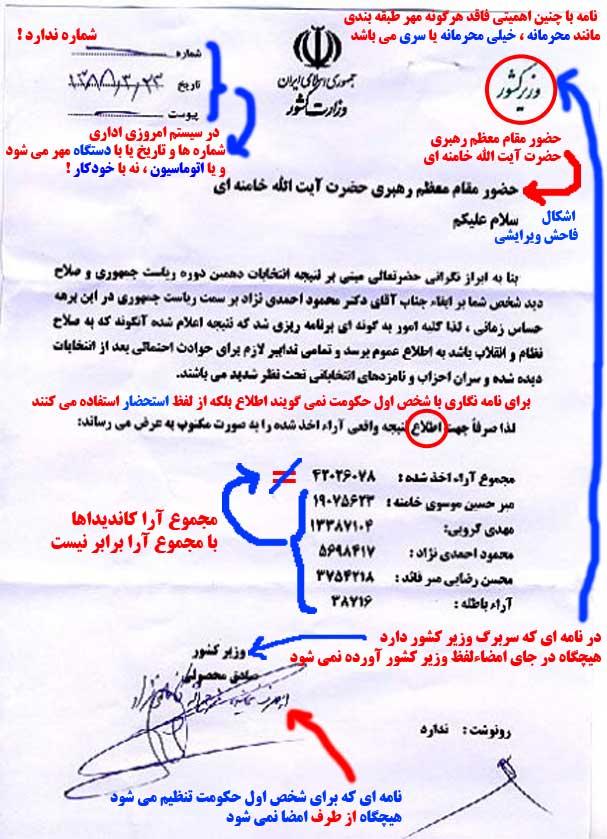نامه جعلی وزیر کشور خطاب به رهبر انقلاب - خود بخوان حدیث مفصل از این مجمل - برای مشاهده عکس به اندازه واقعی بر روی عکس کلیک نمایید