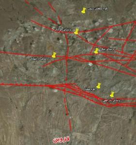 نقشه گسل های شهر قزوین - برای مشاهده بهتر بر روی تصویر کلیک کنید