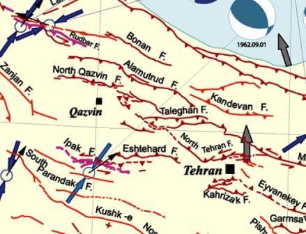گسل های موجود در منطقه تهران قزوین