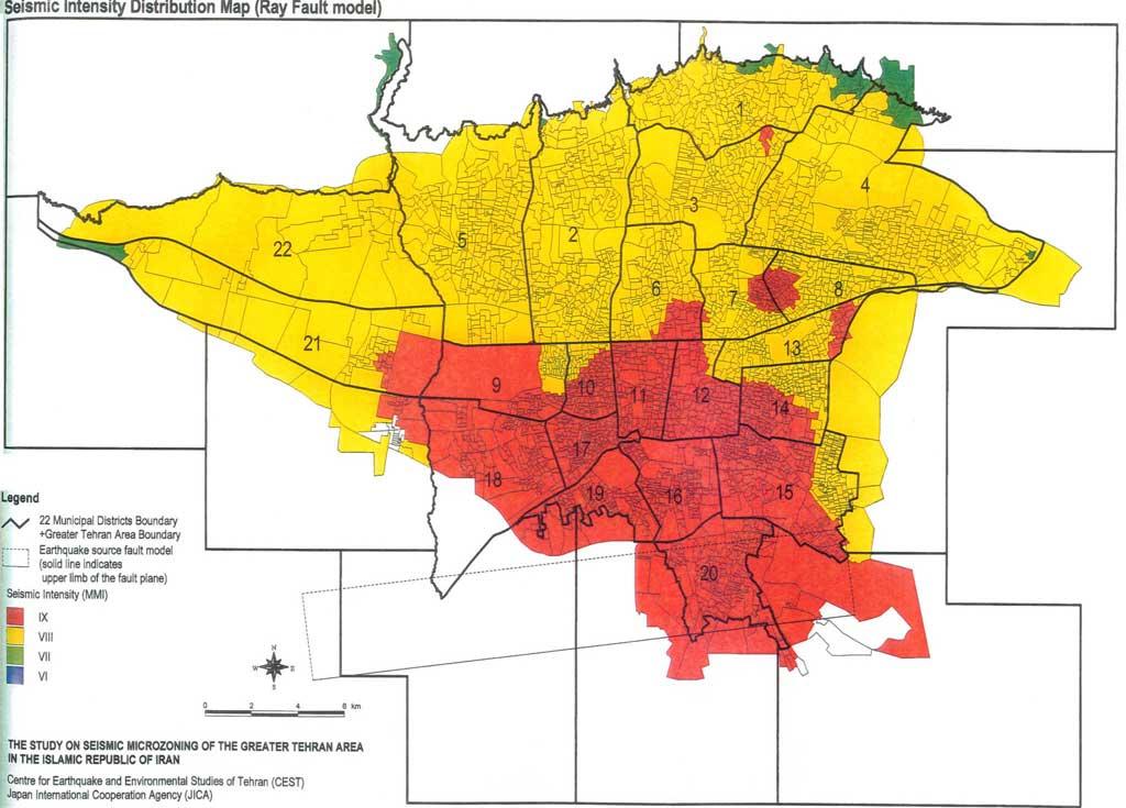 نقشه پراکندگی شدت زلزله - (مدل گسل ری)